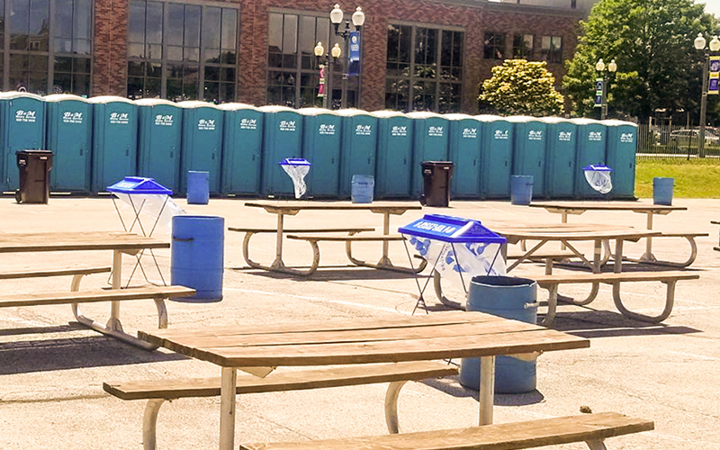 Row of Portable Restrooms at an event